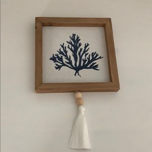 Wood Coral wall decor with beaded tassel